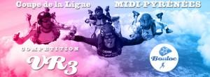 Bannière web pour la compétition de VR3 : Coupe de la Ligue Midi-Pyrénées 2016 à Bouloc Skydive