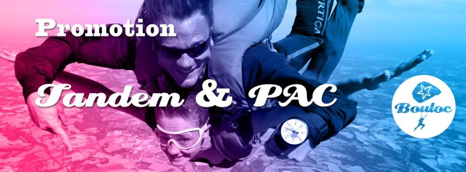 Bannière web pour l'offre promotionnelle sur les sauts en tandem et les stages PAC Progression Accompagnée en Chute (cliquer sur la photo)