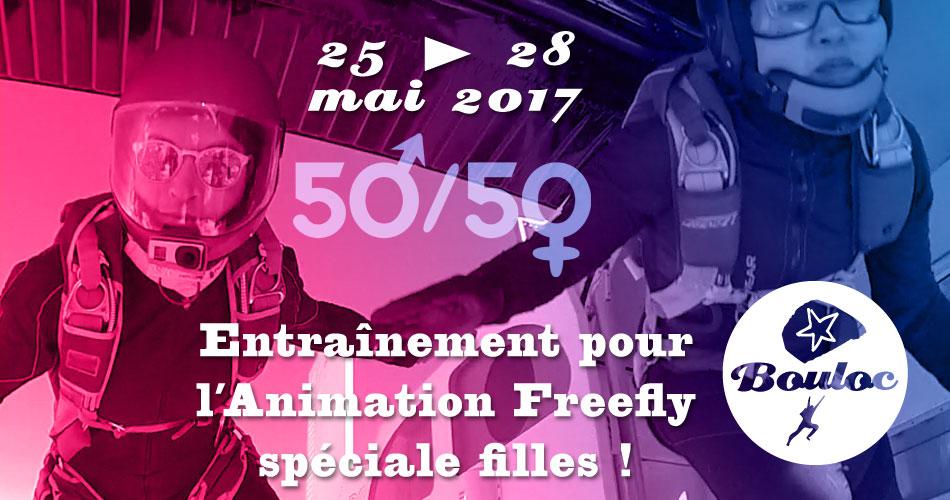 Bannière Facebook pour l'animation Freefly spéciale filles du 25 au 28 mai