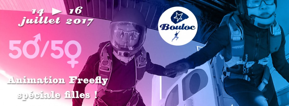 Bannière web pour l'animation Freefly spéciale filles du 14 au 16 juillet
