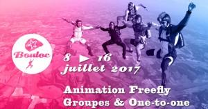 Bannière Facebook pour l'animation Freefly groupes et one-to-one du 8 au 16 juillet