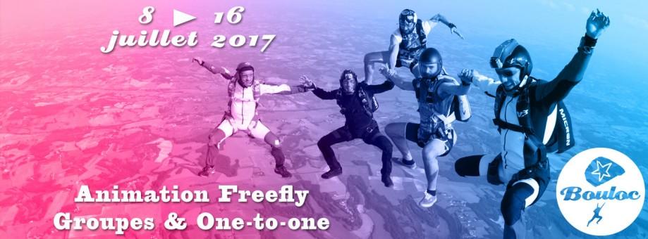 Bannière web pour l'animation Freefly groupes et one-to-one du 8 au 16 juillet