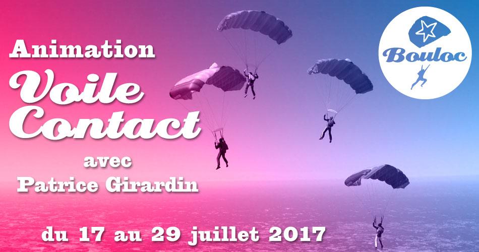 Bannière Facebook pour l'animation Voile Contact avec Patrice Girardin du 17 au 29 juillet 2017