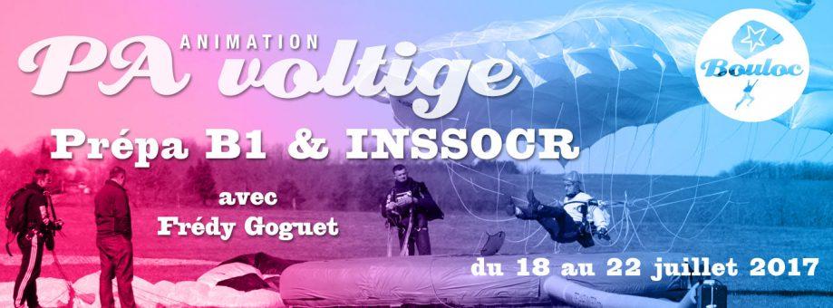 Bannière web pour l'animation PA Précision d'Atterrissage et Voltige, préparation B1 et INSSOCR avec Frédy Goguet du 18 au 22 juillet 2017