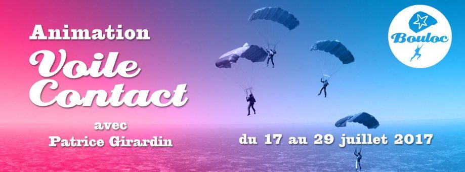 Bannière web pour l'animation Voile Contact avec Patrice Girardin du 17 au 29 juillet 2017