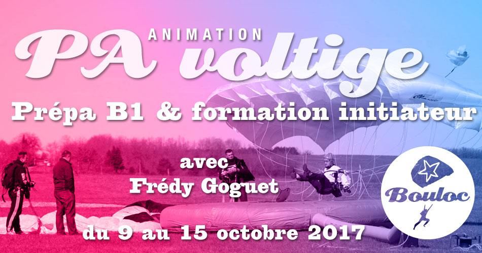 Bannière Facebook pour l'animation PA Précision d'Atterrissage et Voltige, préparation B1 et formation initiateur avec Frédy Goguet du 9 au 15 octobre 2017