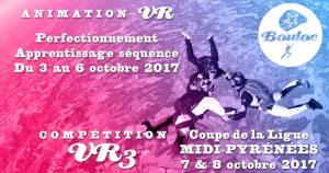 Bannière Facebook pour l'animation VR du 3 au 6 octobre + Compétition VR3 Coupe de la Ligue Midi-Pyrénées les 7 et 8 octobre