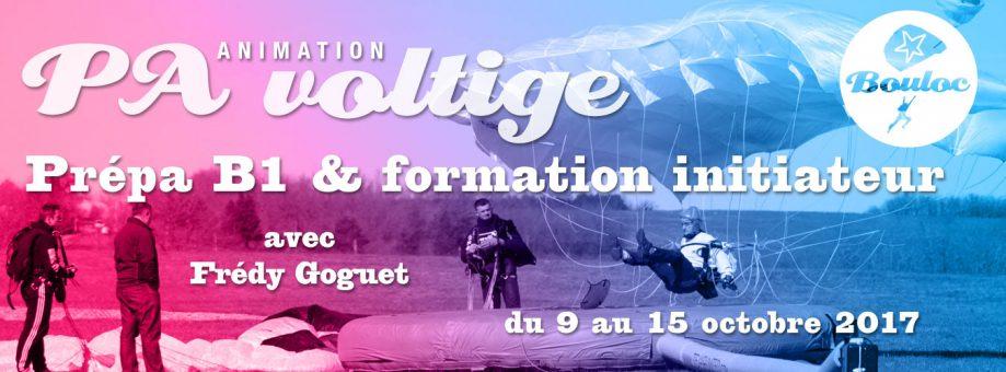 Bannière web pour l'animation PA Précision d'Atterrissage et Voltige, préparation B1 et formation initiateur avec Frédy Goguet du 9 au 15 octobre 2017