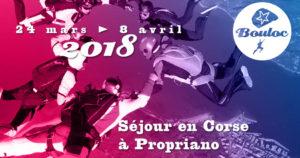 Bannière Facebook pour le séjour en Corse à Propriano au printemps 2018, du 24 mars au 8 avril