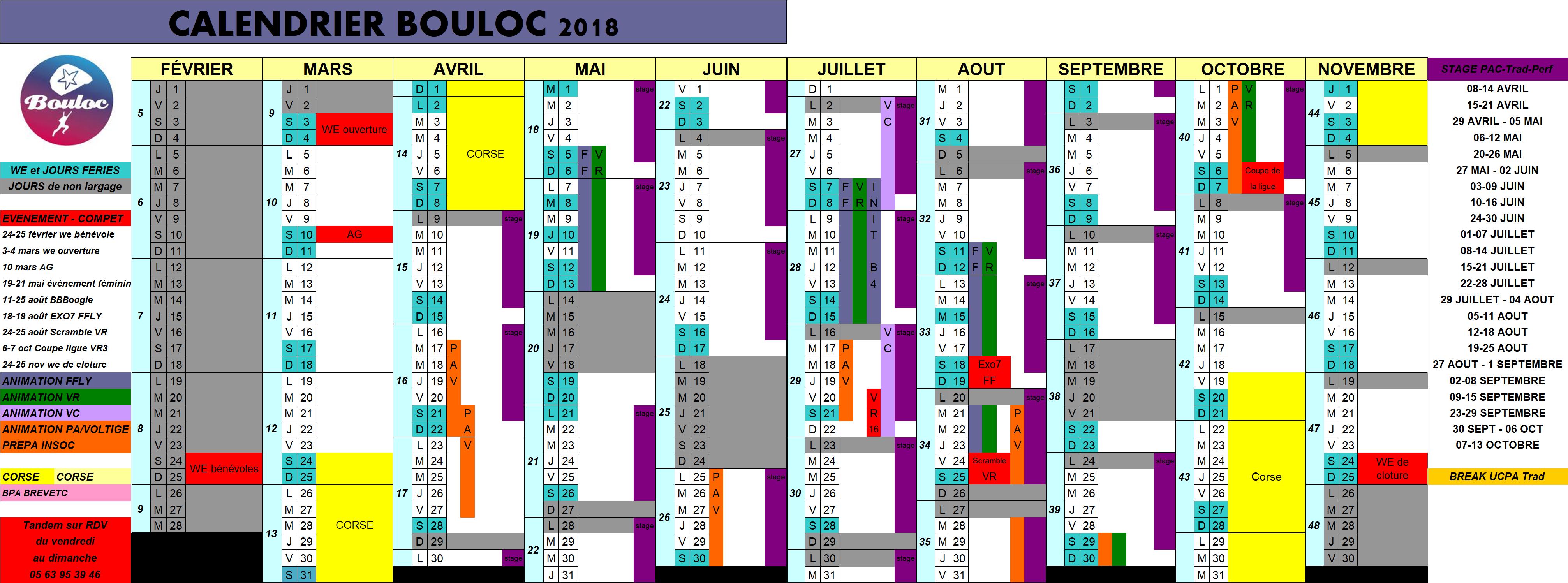Calendrier 2018 des activités à Bouloc Skydive