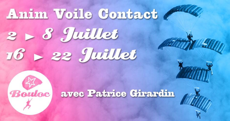 Bannière Facebook pour l'animations Voile Contact avec Patrice Girardin en juillet 2018
