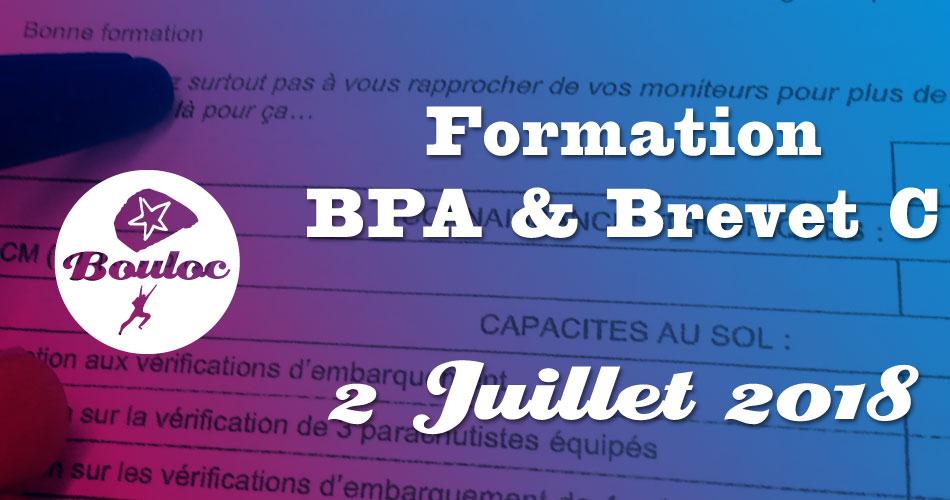 Bannière Facebook pour la formation BPA et brevet C du 2 juillet 2018