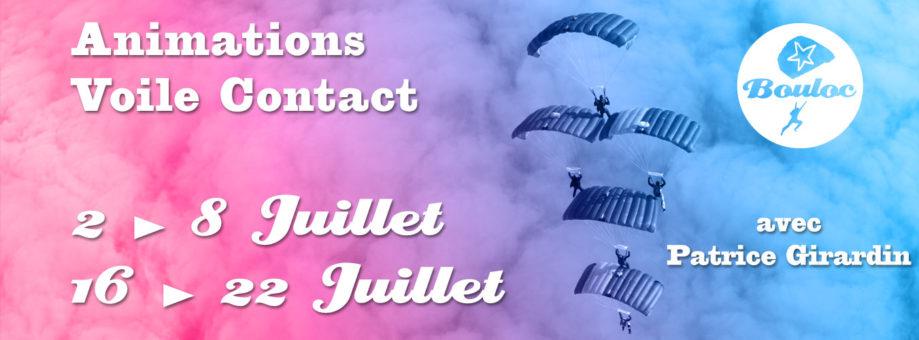 Bannière web pour l'animations Voile Contact avec Patrice Girardin en juillet 2018