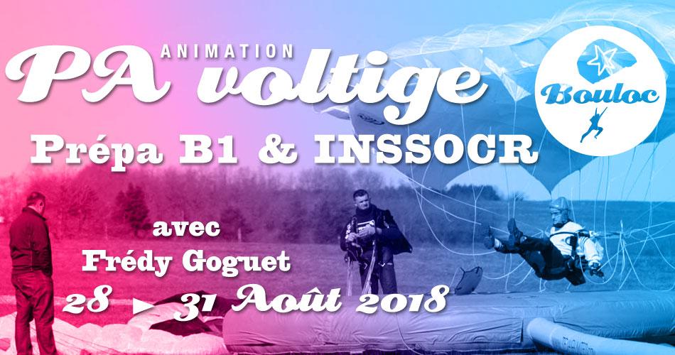 Bannière Facebook pour l'animation PA Précision d'Atterrissage et Voltige, préparation B1 et INSSOCR avec Frédy Goguet du 28 au 31 août 2018