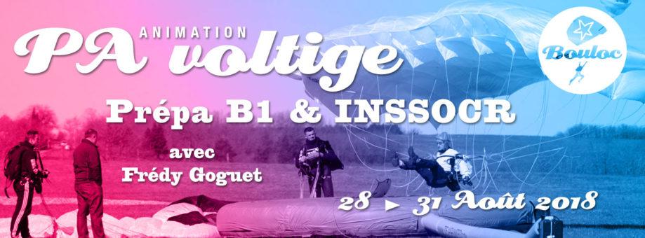 Bannière web pour l'animation PA Précision d'Atterrissage et Voltige, préparation B1 et INSSOCR avec Frédy Goguet du 28 au 31 août 2018