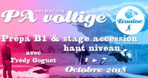 Bannière Facebook pour l'animation PA Précision d'Atterrissage et Voltige, préparation B1 et stage accession haut niveau avec Frédy Goguet du 1er au 7 octobre 2018