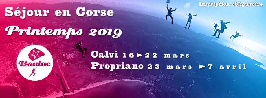 Bannière web pour le séjour en Corse à Propriano et Calvi au printemps 2019, mars et avril