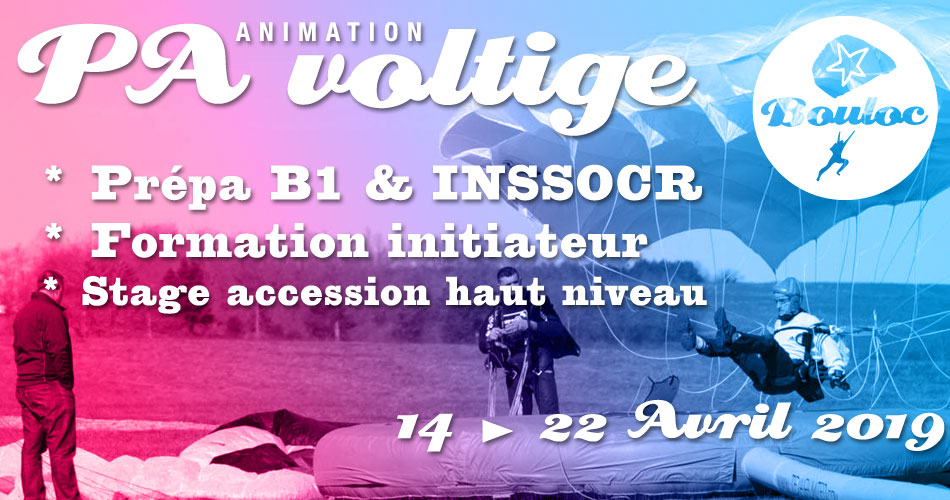 Bannière Facebook pour l'animation PA-Voltige : stage accession haut niveau, init B1, prépa INSSOCR & formation initiateur du 14 au 22 avril 2019