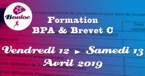 Bannière Facebook pour la formation BPA et brevet C des 12 et 13 avril 2019