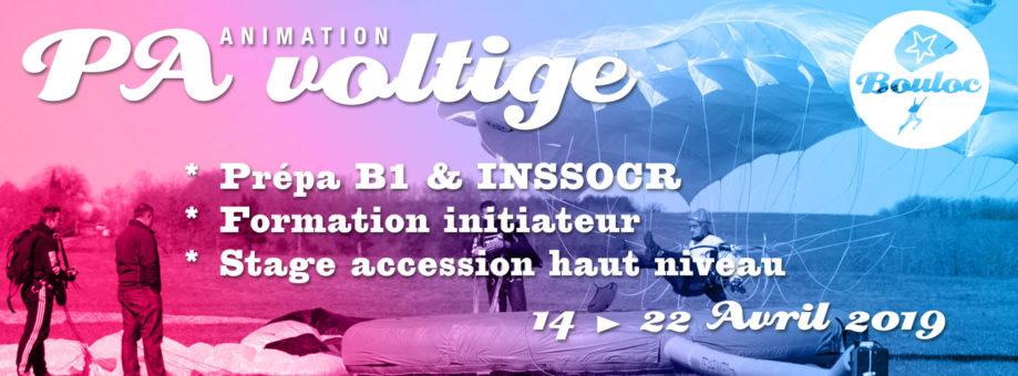 Bannière web pour l'animation PA-Voltige : stage accession haut niveau, init B1, prépa INSSOCR & formation initiateur du 14 au 22 avril 2019