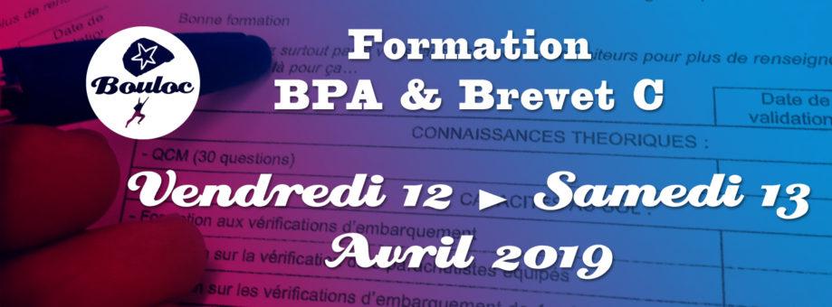 Bannière web pour la formation BPA et brevet C des 12 et 13 avril 2019