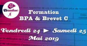 Bannière Facebook pour la formation BPA et brevet C des 24 et 25 mai 2019