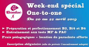 Bannière Facebook pour le week-end spécial One-to-one pour préparer les brevets B2, Bi4, B4 et tests techniques MF & PAC du 20 au 22 avril 2019