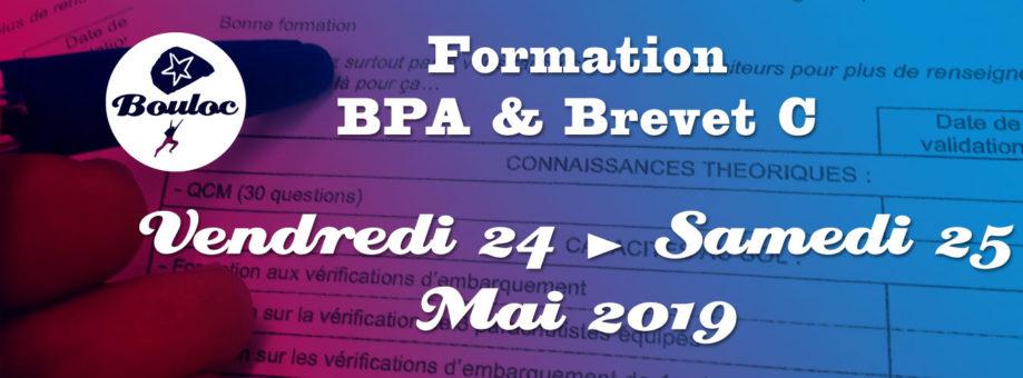 Bannière web pour la formation BPA et brevet C des 24 et 25 mai 2019