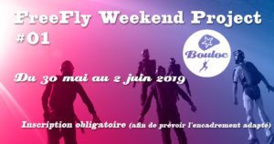 Bannière Facebook pour le FreeFly Weekend Project #01 : du 30 mai au 2 juin 2019