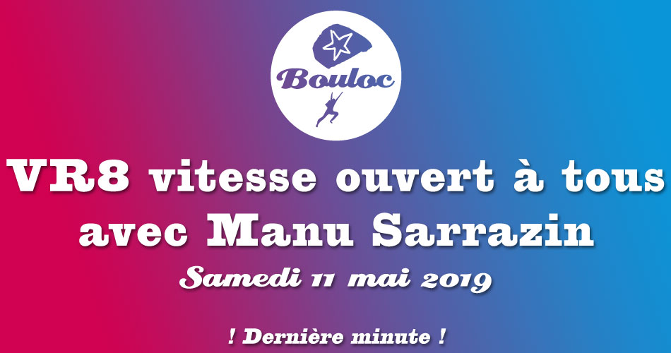 Bannière Facebook pour le VR8 vitesse avec Manu Sarrazin le samedi 11 mai 2019