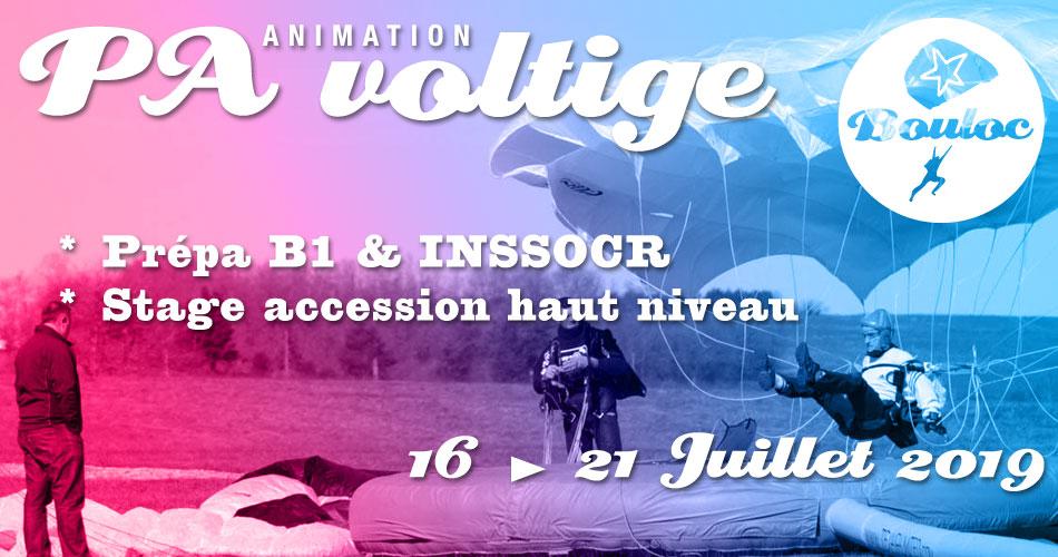 Bannière Facebook pour l'animation PA-Voltige : stage accession haut niveau, initiation B1 et préparation au concours INSSOCR du 16 au 21 juillet 2019