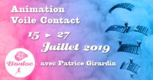 Bannière Facebook pour l'animation Voile Contact avec Patrice Girardin du 15 au 27juillet 2019