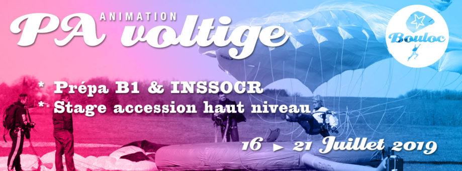 Bannière web pour l'animation PA-Voltige : stage accession haut niveau, initiation B1 et préparation au concours INSSOCR du 16 au 21 juillet 2019
