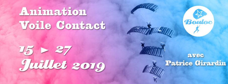 Bannière web pour l'animation Voile Contact avec Patrice Girardin du 15 au 27juillet 2019