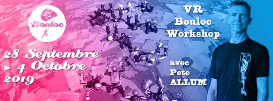 Bannière web pour le VR Bouloc Workshop avec Pete ALLUM du 28 septembre au 4 octobre 2019