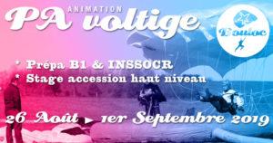 Bannière Facebook pour l'animation PA et Voltige, initiation au brevet B1 et préparation au concours INSSOCR du 26 août au 1er septembre 2019