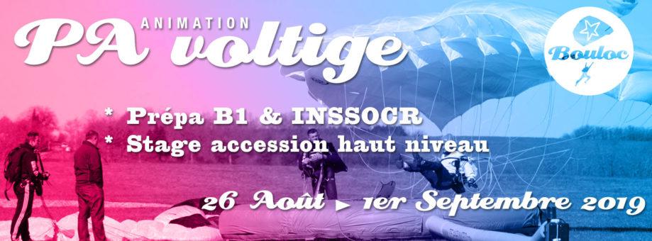 Bannière web pour l'animation PA et Voltige, initiation au brevet B1 et préparation au concours INSSOCR du 26 août au 1er septembre 2019