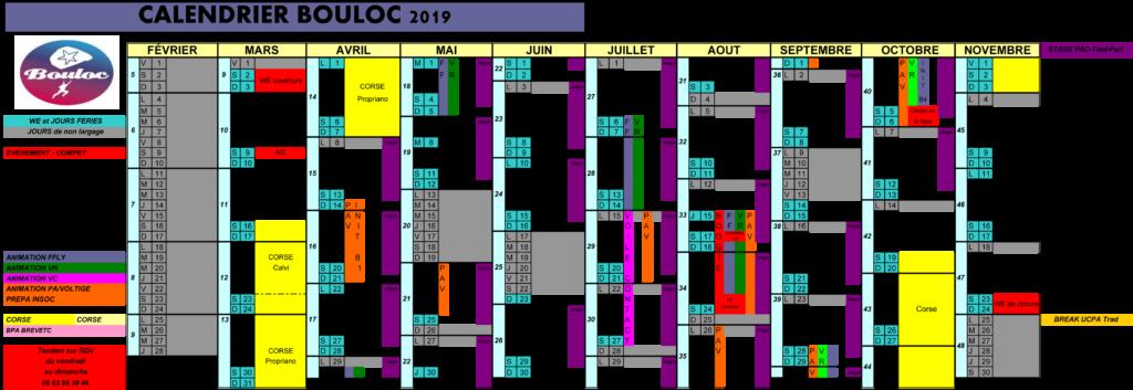 Calendrier 2019 des activités à Bouloc Skydive