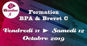 Bannière Facebook pour la formation BPA et brevet C des 11 et 12 octobre 2019