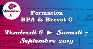Bannière Facebook pour la formation BPA et brevet C des 6 et 7 septembre 2019