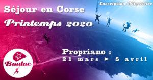 Bannière Facebook pour le séjour en Corse à Propriano au printemps 2020, mars et avril