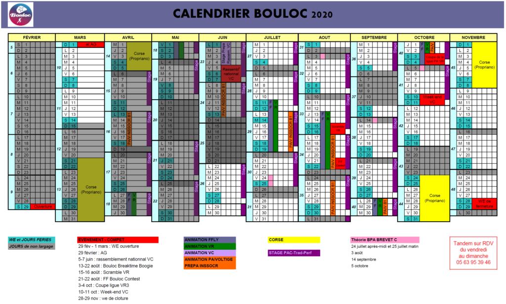 Calendrier 2020 des activités à Bouloc Skydive