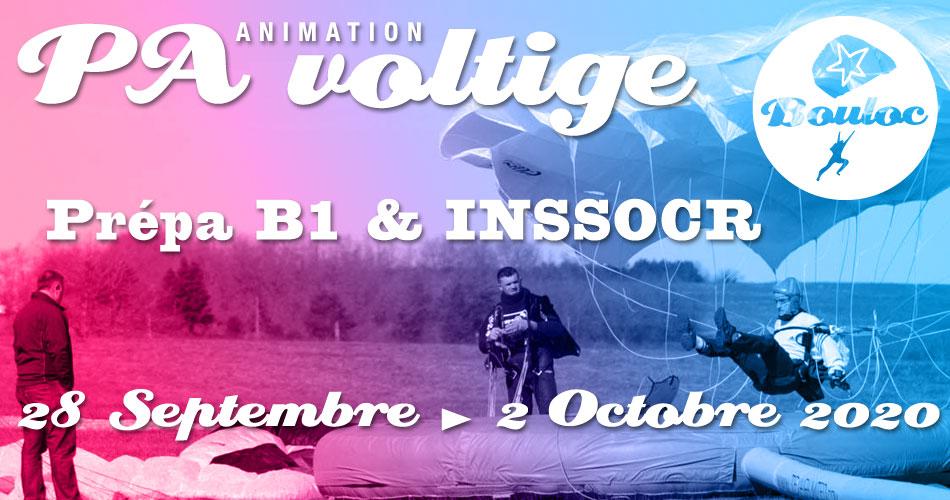 Bannière Facebook pour l'animation PA et Voltige, initiation au brevet B1 et préparation au concours INSSOCR du 28 septembre au 2 octobre 2020
