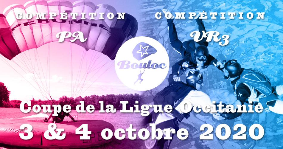 Bannière Facebook pour la Coupe de la Ligue Occitanie VR et PA à Bouloc les 14 et 15 novembre 2020