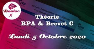 Bannière Facebook pour la théorie BPA et brevet C du lundi 5 octobre 2020