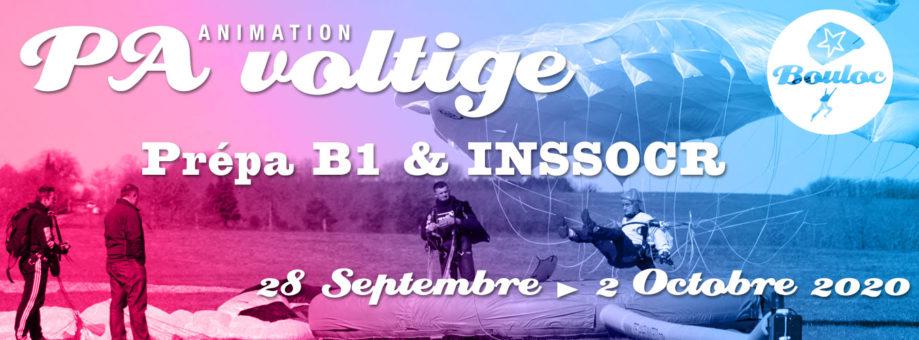 Bannière web pour l'animation PA et Voltige, initiation au brevet B1 et préparation au concours INSSOCR du 28 septembre au 2 octobre 2020