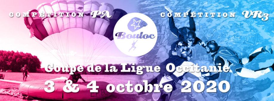 Bannière web pour la Coupe de la Ligue Occitanie VR et PA à Bouloc les 3 et 4 octobre 2020