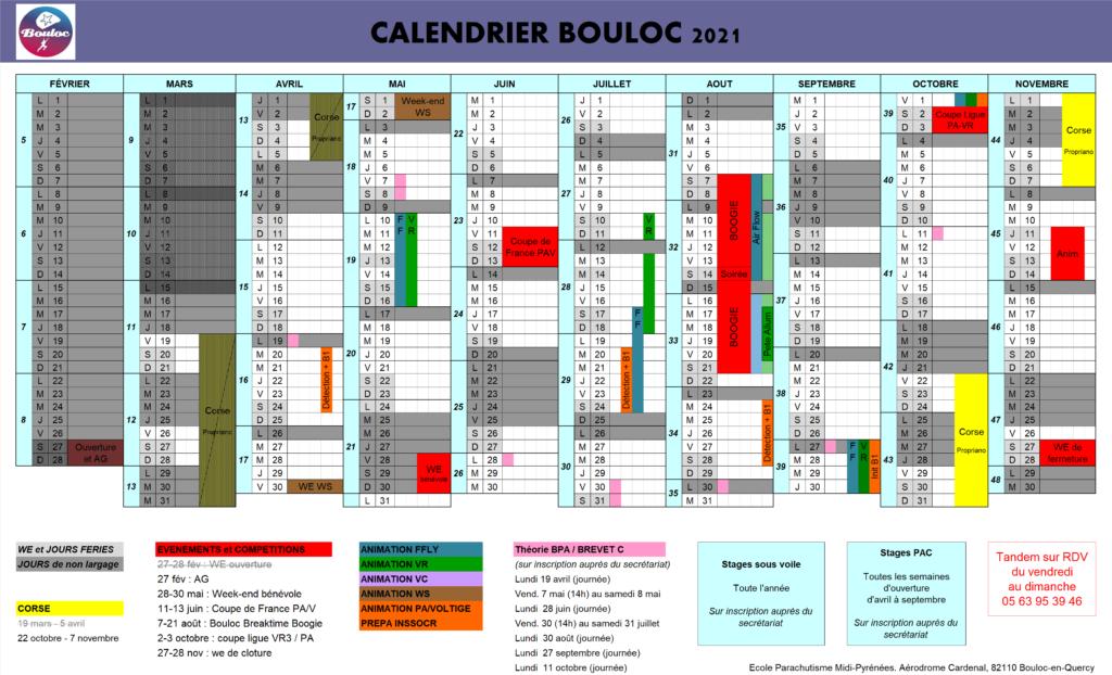 Calendrier 2021 des activités à Bouloc Skydive
